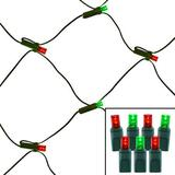 100 Light Red & Green 5 mm Wide Angle Conical LED Net Lights