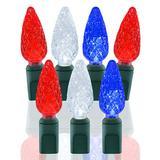 70 Light Red, White & Blue C6 LED Christmas Lights