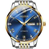 OLEVS Automatic Watches for Men,Blue Dial Mechanical Man Watch Swiss Brand Self Windding Watches Two Tones Stainless Steel Watches Waterproof Fashion Watches with Day Date No Battery Wristwatches