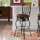 Darby Home Co Abbey Glen Bar & Counter Swivel StoolUpholstered/Leather/Metal/Faux leather in Brown, Size 48.0 H x 21.0 W x 20.25 D in | Wayfair
