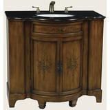 """Astoria Grand Eisenman 39"""" Single Painted Rose Bathroom Vanity Set Wood/Stone Top in Black/Brown/Gray, Size 36.0 H x 39.0 W x 22.0 D in   Wayfair"""