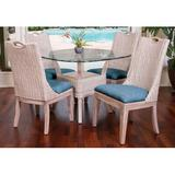 Bayou Breeze Valle 5 Piece Dining SetWood/Glass/Upholstered Chairs in Blue/Brown, Size 35.5 H x 42.0 W x 42.0 D in | Wayfair