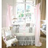 Harriet Bee Demaria 4 Piece Crib Bedding Set Cotton Blend in Pink/White, Size 30.0 W in   Wayfair 50LULU-4P