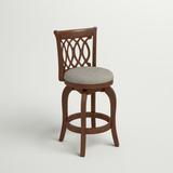 Andover Mills™ Leda Swivel Bar & Counter Stool Wood/Upholstered in Gray, Size 37.75 H x 17.75 W x 18.38 D in   Wayfair