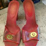 Coach Shoes   Authentic Coach Plastic And Wooden Clogs W Locket   Color: Gold/Red   Size: 8