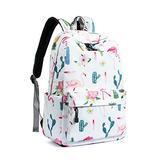 Leaper Cute Flamingo School Backpack Girls Travel Bag Bag White [9110]