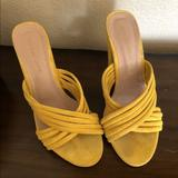 Anthropologie Shoes | Anthropologie | Yellow Suede Chunky Heel Mule | Color: Yellow | Size: 10