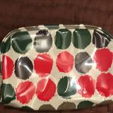 J. Crew Accessories | J. Crew Plastic Coated Dots Cosmetic Case | Color: Green/Orange | Size: Os