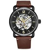 Stuhrling Original Skeleton Watches for Men - Mens Automatic Watch Self Winding Mens Dress Watch - Mens Brown Leather Watch Mechanical Watch for Men