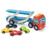 Le Toy Van Motors, Planes & Garages Race Car Transporter Set Premium Wooden Toys for Kids Ages 3 Years & Up