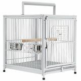 "Tucker Murphy Pet™ Hettinger 22"" Iron Flat Top Floor Bird Cage w/ Wheels & Perch Iron in White, Size 22.0 H x 18.0 W x 14.25 D in | Wayfair"