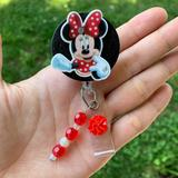 Disney Accessories | Minnie Mouse Retractable Badge Holder | Color: Red/White | Size: Various