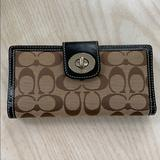 Coach Bags | Like New Coach Signature Checkbook Wallet | Color: Brown/Tan | Size: Os