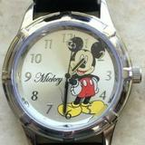 Disney Accessories | Disney Mickey Mouse Stainless Steel Watch Silver | Color: Black/Silver | Size: Band Measures 8.5