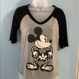 Disney Tops   Disney Mickey Halloween Glow In The Dark V Neck   Color: Black/Gray   Size: S
