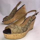 Coach Shoes | Coach Ferry Platform Wedge Sandal Size 9.5 | Color: Brown/Tan | Size: 9.5