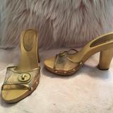 Coach Shoes   Coach Cagney Gold Clear Wooden Platform Heels   Color: Gold/Tan   Size: 6.5