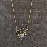 American Eagle Outfitters Jewelry | Charm Safety Pin Necklace | Color: Gold | Size: Os