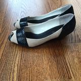 Anthropologie Shoes   Anthropologie Tanblack Snake Peep Toe Kitten Heel   Color: Black/Tan   Size: 8.5
