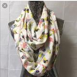 Anthropologie Accessories | Anthropologie Citrus Bird Print Infinity Scarf | Color: Green/White | Size: Os