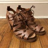 Anthropologie Shoes | Coque Terra Gold Leather Heeled Sandals | Color: Gold | Size: 7