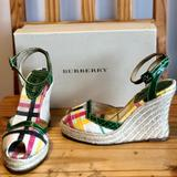 Burberry Shoes | Burberry Espadrille Wedge Sandals | Color: Green/Tan | Size: 8