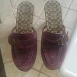 Coach Shoes | Coach Purple Suede Mules Size 7m | Color: Purple | Size: 7