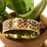 Coach Jewelry   Authentic Coach Enamel Logo Bangle   Color: Brown/Gold   Size: Os