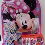 Disney Accessories | Minnie Mouse Backpack 3 Pc Set Crayons Tin Case | Color: Pink/Purple | Size: Osg
