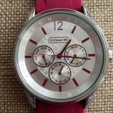 Coach Accessories | Coach Wmn'S Watch - Never Worn, Silicone Strap | Color: Pink/Silver | Size: Os