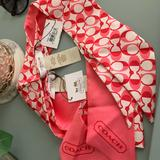 Coach Accessories | Bnwt! Coach Peyton Dream C Ponytail Scarf | Color: Pink/White | Size: Os