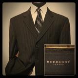Burberry Suits & Blazers | Burberry London Mens Wool Blazer Pinstripe Sz 46r | Color: Black | Size: 46r