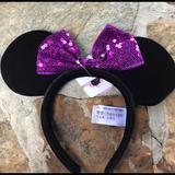 Disney Accessories | Disney Youth Mickey Mouse Ears Purple Bow Nwt | Color: Black/Purple | Size: Osg
