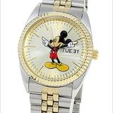 Disney Accessories | Disney Man'S Mickey Mouse Watch Two Tone Mck339 | Color: Gold/Tan | Size: Os