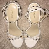 Coach Shoes | Coach Rosemary Flower Stud Wedge Sandal | Color: Gold/White | Size: 7