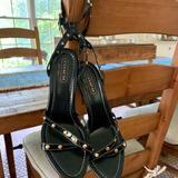 Coach Shoes | Coach Black Patent Studded Ankle Strap Sandals | Color: Black/Gold/White | Size: 8.5