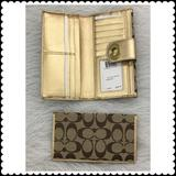 Coach Bags | Coach Signature Turnlock Checkbook Wallet New | Color: Gold/Tan | Size: Os