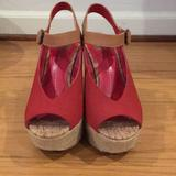 Free People Shoes | Dv Dolce Vita Espadrille Red Suede Peep Toe Wedge | Color: Red/Tan | Size: 6.5