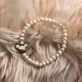Disney Jewelry | Freshwater Pearl Mickey Mouse Bracelet 14k Gold | Color: Gold/White | Size: Os