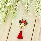 Disney Jewelry | Minnie Mouse Tassel Necklace | Color: Red/Silver | Size: Os