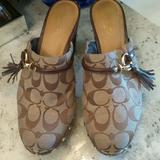 Coach Shoes   Authentic Coach Monogram Canvasleather Clogs   Color: Brown/Cream   Size: 8