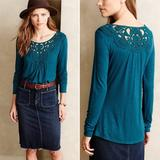 Anthropologie Tops   Meadow Rue Blue Bobbin Lace Neck Tee Shirt   Color: Blue   Size: Xsp