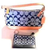Coach Bags | Coach Hand Bag And Card & Key Wallet | Color: Blue/Tan | Size: 9 X 5 X 2.5
