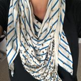 Anthropologie Accessories | Anthropologie Striped Sequin Scarf Or Shawl | Color: Blue/Cream | Size: Os