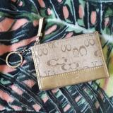 Coach Bags | Coach Gold Metallic Credit Card Keychain Wallet | Color: Gold | Size: Os