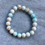 Anthropologie Jewelry | New Pearl Turquoise Glass Beaded Stretch Bracelet | Color: Blue/White | Size: Os