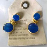 Anthropologie Jewelry   Gold Vermeil & Stone Modern Boho Earrings   Color: Blue/Gold   Size: Os