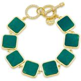 Harmony Stone Link Bracelet In 14k Gold - Plated Sterling Silver - Green - Freida Rothman Bracelets