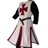 Taoliyuan Mens Crusader Costume Halloween Medieval Templar Renaissance Knight Warrior Tunic Retro Cosplay Cloak Robe, A-wine, X-Large