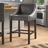 "Three Posts™ Len Bar & Counter Stool Seat Height: Counter Stool (24"" Seat Height), Leather/Faux leather/Wood, Size Counter Stool (24"" Seat Height)"